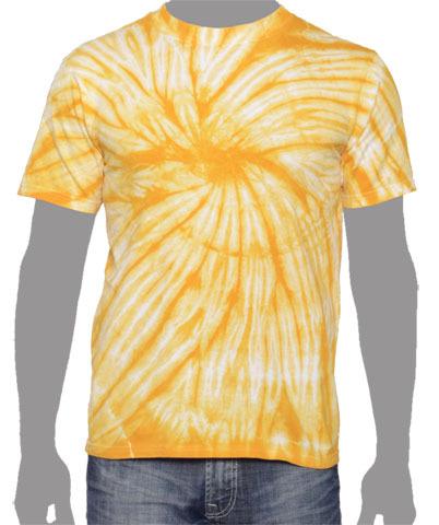 one color vegas gold tie dye vat spiral t shirt